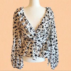 Fashion Nova balloon sleeve wrap blouse